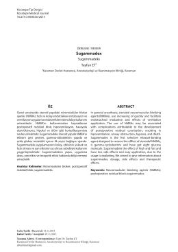 Sugammadeks - Kocatepe Tıp Dergisi