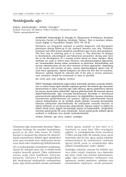 Yenidoğanda ağrı - Çocuk Sağlığı ve Hastalıkları Dergisi