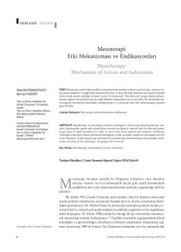 Bayramgürler D, Nazari Ş. Mezoterapi Endikasyonları ve