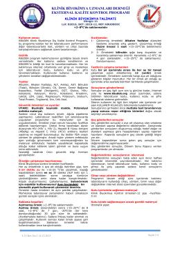 Klinik Biyokimya Eksternal Kalite Kontrol Programı Talimatı