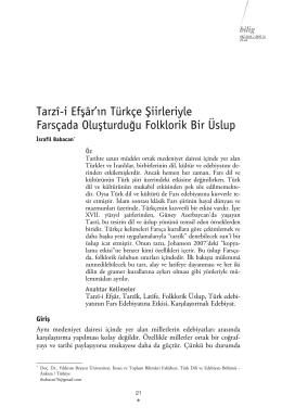 Tarzî-i Efşâr`ın Türkçe Şiirleriyle Farsçada Oluşturduğu Folklorik Bir