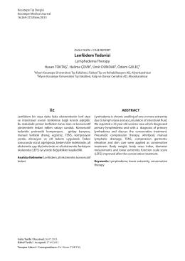 Lenfödem Tedavisi - Kocatepe Tıp Dergisi