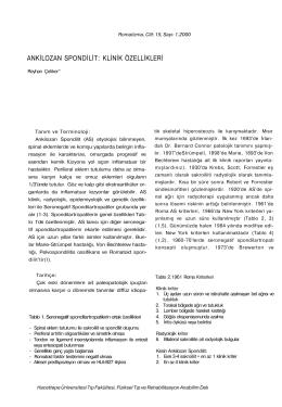 ankilozan spondilit: klinik özellikleri