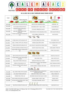 02.11.2015–30.11.2015 tarihleri arası yemek listesi