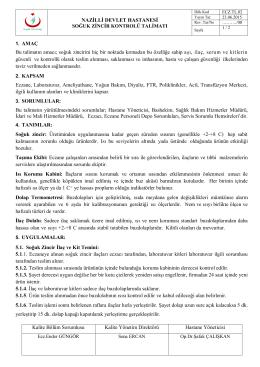 NAZİLLİ DEVLET HASTANESİ Kalite Bölüm Sorumlusu Kalite