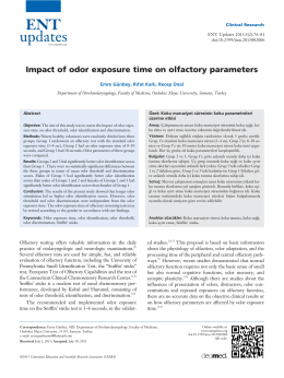 Impact of odor exposure time on olfactory parameters