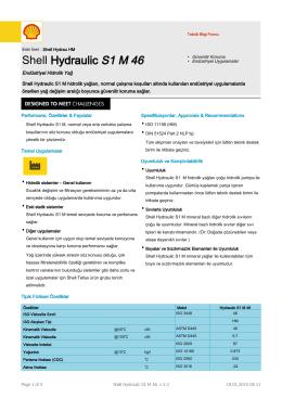 Page 1 Tipik Fiziksel Özellikler Teknik Bilgi Formu Eski İsmi : Shell