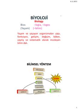 BİLİMSEL YÖNTEM - Biyoloji Bölümü