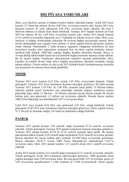 26 haziran 2015 tarihli haftalık dış piyasa yorumları