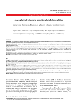 Mean platelet volume in gestational diabetes mellitus