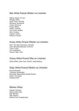 Batı Afrika İhracat Ülkeleri ve Limanları Kuzey