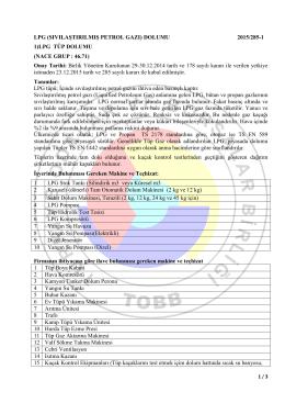 NACE Grup : 46.71 LPG (Sıvılaştırılmış Petrol Gazı) Dolumu