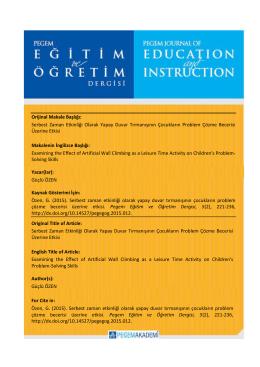 Makaleyi Yazdır - Pegem Eğitim ve Öğretim Dergisi
