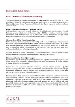 Haziran 2015 Hukuk Bülteni Konut Finansmanı Sözleşmeleri