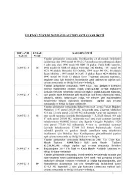 belediye meclisi 2015 mayıs ayı toplantı karar özeti