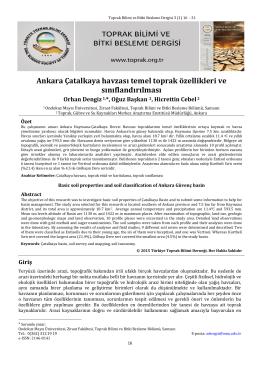 Ankara Çatalkaya havzası temel toprak özellikleri ve sınıflandırılması