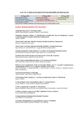 gap vıı. tarım kongresi poster bildiriler programı bahçe bitkileri