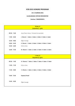 ıceb 2015 kongre programı - ICEB`15