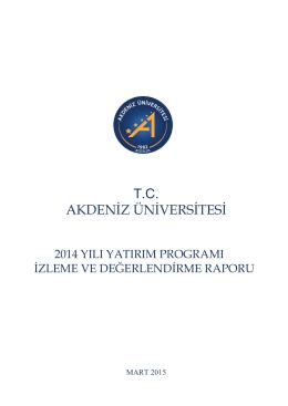 2014 YILI - Strateji Geliştirme Daire Başkanlığı