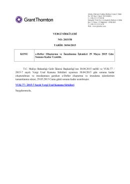 Defter Oluşturma ve İmzalanma İşlemleri 29 Mayıs 2015 Gün