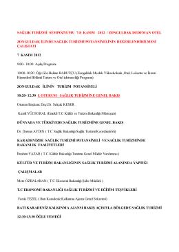 sağlık turizmi sempozyumu 7-8 kasım 2012 / zonguldak dedeman