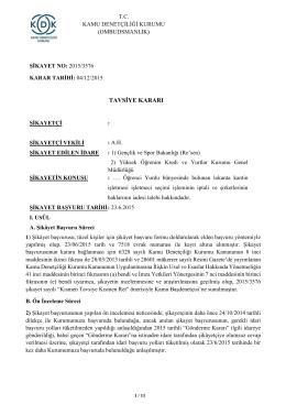 Dosya No: 2015/3576 - Öğrenci Yurdu