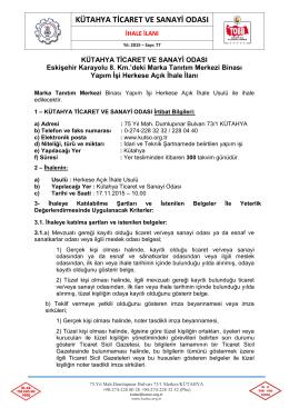kutso ihale ilanı ek dosya - Kütahya Ticaret ve Sanayi Odası