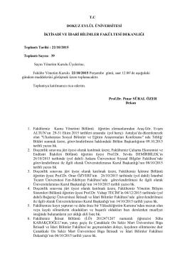 22/10/2015 Toplant - İktisadi ve İdari Bilimler Fakültesi