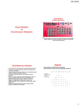 Geçiş Metalleri ve Koordinasyon Bileşikleri