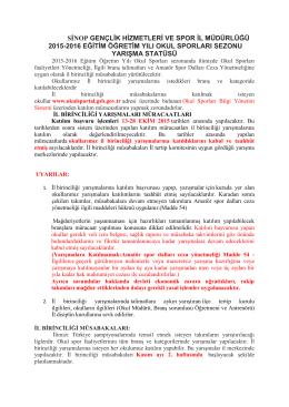 sġnop gençlik hizmetleri ve spor il müdürlüğü 2015