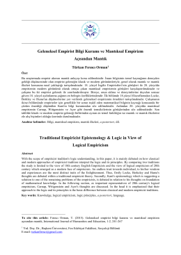 Geleneksel Empirist Bilgi Kuramı ve Mantıksal Empirizm Açısından