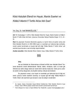Kitâbü`l-Mantık fî Tertîbi Akîse