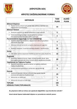 değerlendirme formu 2015-2016