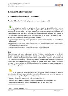 6. İnovatif Üretim Stratejileri 6.1 Yeni Ürün Geliştirme