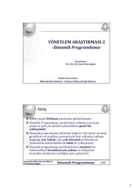 YÖNEYLEM ARAŞTIRMASI-2 -Dinamik Programlama-