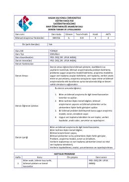 EK 2 - Sınıf Öğretmenliği - Hasan Kalyoncu Üniversitesi