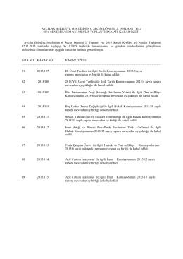 Avcılar Belediye Meclisinin 6. Seçim Dönemi 2. Toplantı yılı 2015