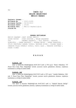 izmir ili selçuk belediyesi meclis kararı karar