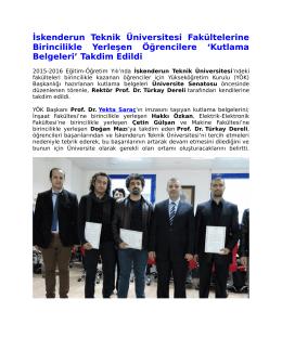 Takdim Edildi - İskenderun Teknik Üniversitesi