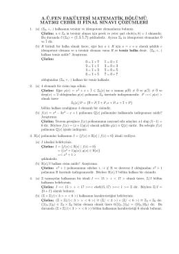 MAT302 Cebir II Final Soruları ve Çözümleri