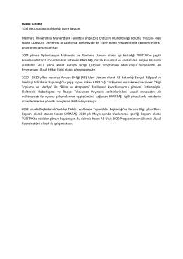 Hakan Karataş TÜBİTAK Uluslararası İşbirliği Daire Başkanı