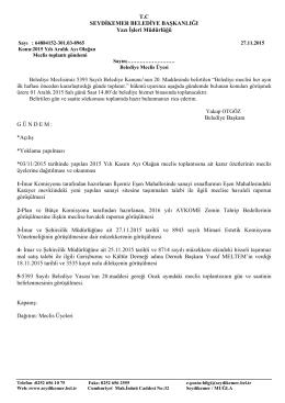 T.C SEYDİKEMER BELEDİYE BAŞKANLIĞI Yazı İşleri Müdürlüğü