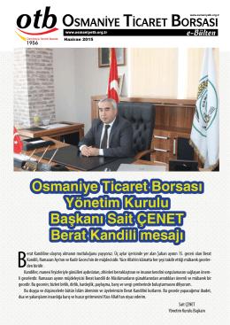 Osmaniye Ticaret Borsası Yönetim Kurulu Başkanı Sait ÇENET