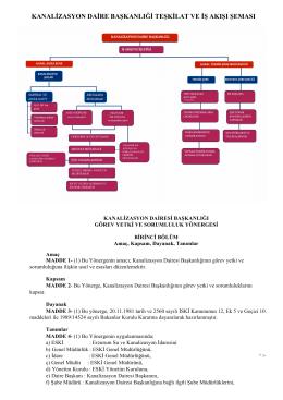 kanalizasyon daire başkanlıği teşkilat ve iş akışı şeması