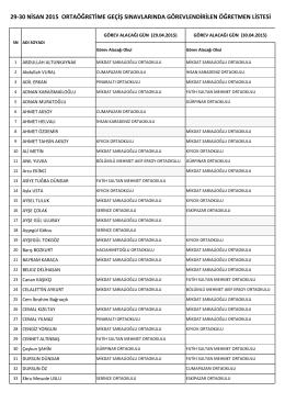 Teog sınavında görevlendirilenlerin listesi 05.05.2015 10:43