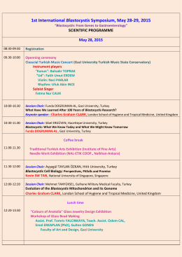 1st International Blastocystis Symposium, May 28