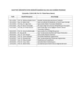 Seminer Programı - Hacettepe Üniversitesi Tıp Fakültesi Spor