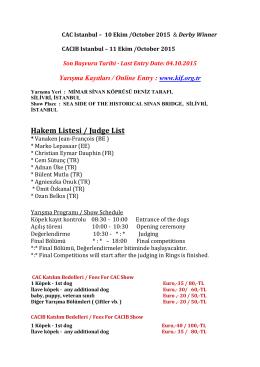 Hakem Listesi / Judge List - Köpek Irkları ve Kinoloji Federasyonu