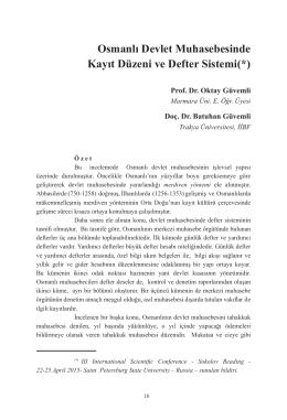 Osmanlı Devlet Muhasebesinde Kayıt Düzeni ve Defter