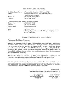 Kar Dağıtım Önerisi 05.03.2015